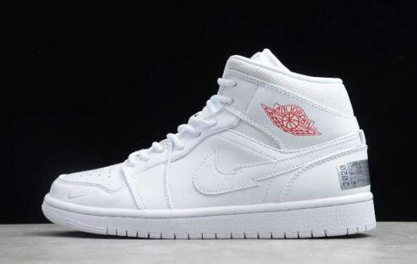 2020 New Air Jordan 1 Mid AJ1 London White/Red-Silver CW7589-100