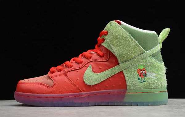 "Nike SB Dunk High ""Strawberry Cough"" University Red/Spinach Green-Magic Ember 2020 CW7093-600 For Sale Online"