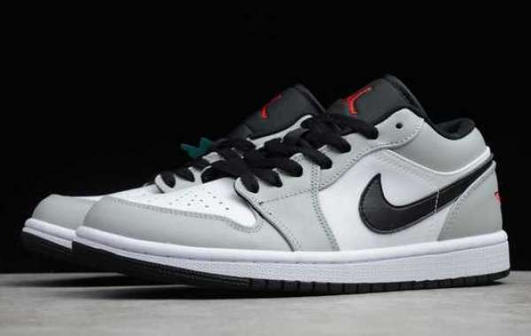 Air Jordan 1 Low Light Smoke Grey/Gym Red-White 2020 New Released 553558-030