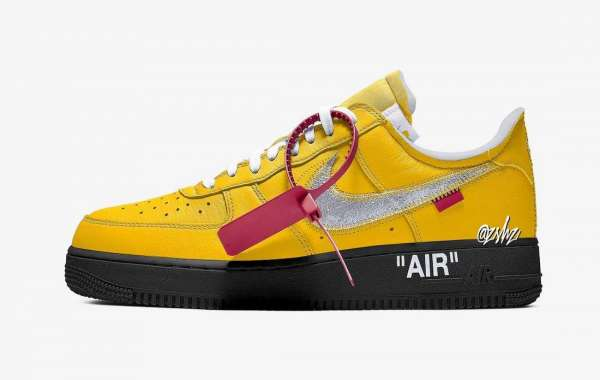 """DD1876-700 Off-White x Nike Air Force 1 Low """"University Gold"""" Releasing July 2021"""